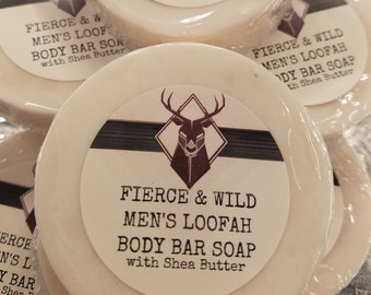 Fierce And Wild Shea Butter Loofah Soap,Essential Oil Soap,Shea Butter Artisan Soap,Dry Skin Soap,Loofah Exfoliating Soap,Artisan Soap Bars
