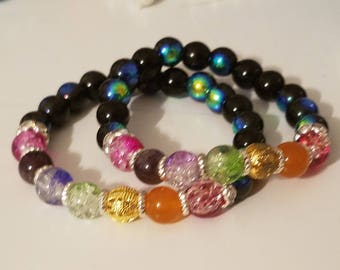 7 CHAKRA Balanced Crystal Beaded Stretch Bracelet,Boho Costume Fashion Jewelry, Wiccan Pagan Crystal Jewelry,Chakra Reiki Healing Meditation