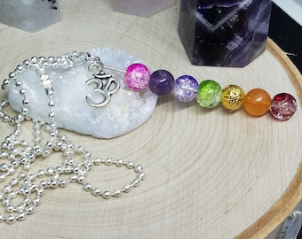 7 Chakra Crystal Necklace, Crystal Healing Necklace, Chakra Om Jewelry, Spiritual Necklace, Empath Protection Necklace, Wicca Jewelry