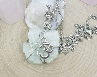 Aquamarine Necklace, Raw Aquamarine Pendant, Om Pendant Protection Charm, Raw Stone Necklace, Raw Crystal Necklace, Raw Aquamarine Necklace