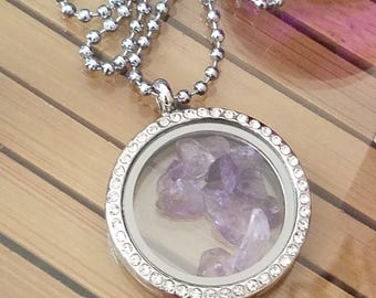 Amethyst Crystal Glass Locket Pendant Necklace, Raw Amethyst Glass Locket Necklace, Raw Amethyst Crystal Locket Necklace