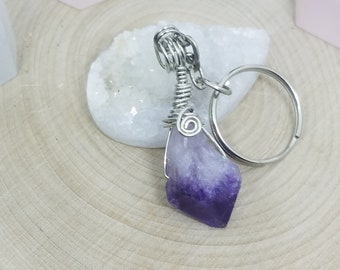 Amethyst Crystal Keychain, Amethyst Point Key Chain, Key Chains For Women, Amethyst Crystal Car Keyring, Amethyst Crystal Gemstone Keychain