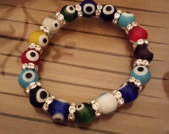 Evil Eye Crystal Stretch Bracelets, Egyptian Evil Eye Beaded Lampwork Glass Stretch Bracelets, Big Beaded Eyeball Stretch Jewelry