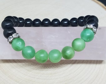 GREEN AVENTURINE Crystal Stone CHAKRA Beaded Bracelet, Boho Costume Fashion Jewelry, Wiccan And Pagan Crystal Jewelry