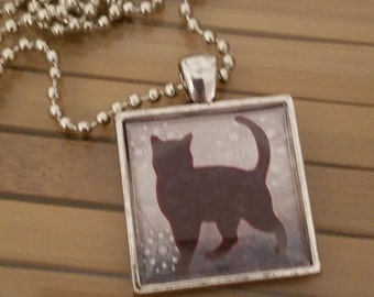 Silver Cat Necklace, Animal Lovers Cat Pendant, Kitty Cat Photo Pendant, Kitty Cat Photo Pendant, Square Pendant Photo Necklace
