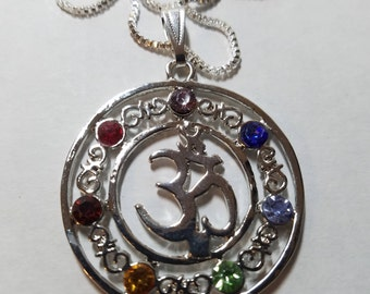 """Sterling SILVER """"OM"""" Reiki Chakra Pendant Necklace, Meditation Healing Talisman Necklace, Boho Costume Fashion Jewelry, Silver Holiday Gifts"""
