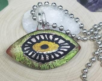 Yellow Crackle Blown Glass Evil Eye Pendant Necklace, Evil Eye Beaded Choker Jewelry, Boho Costume Fashion Jewelry, Egyptian Glass Necklace