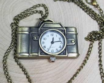 Working CAMERA WATCH Timepiece NECKLACE, Steampunk Photograpy Statement Piece Gift, Boho Costume Fashion Jewelry