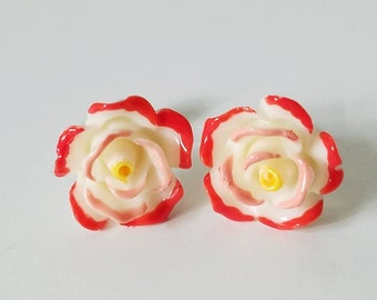 Medium PAINT The ROSES MULTICOLOR Stud Earrings, Rose Stud Earrings, Heirloom Roses Floral Accessories, Alice In Wonderland Painted Roses