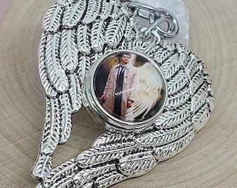 Supernatural Castiel Keychains, Castiel Angel Wings Key Chains,Supernatural Photo Keychain, Castiel Key Ring, Supernatural Castiel Bag Charm