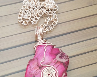 Ocean Jasper Wire Wrapped Crystal Necklace, Pink Imperial Jasper Pendant Necklace, Crystal Stone Imperial Jasper, Crystal Stone Jasper