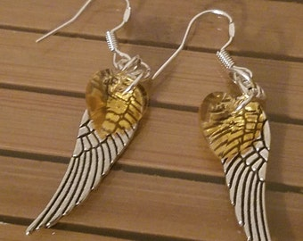 Yellow Crystal Angel Wing Earrings, Hearts and Silver Angel Winged Jewelry, Boho Costume Fashion Jewelry