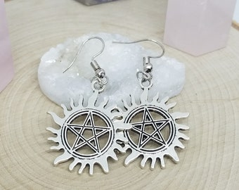 Dean Winchester Pentacle Earrings, Sam Winchester Supernatural Earrings, Silver Pentagram Wiccan Earrings,Silver Pentagram Earrings