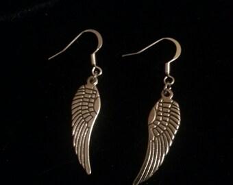 Silver Angel Wing Earrings, Supernatural Castiel Angel Earrings, Silver Wiccan Jewelry, Silver Pagan Gifts, Supernatural Fandom Earrings