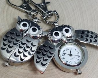 Owl Watch, Owl Key Chain, Owl Watches, Owl Pocket Watch, Watch Keychains, Key Chain Watches, Owl Jewelry, Silver Owl Watches