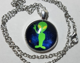 Alien Photo Pendant Necklace, Space Man Photo Jewelry, Green Men Alien Peace Sign Pendant Necklace, Little Green Men Jewelry Gifts