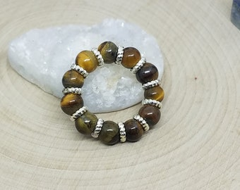 Tigers Eye Ring, Tigers Eye Thumb Ring, Tigers Eye Protection Ring, Tigers Eye Wicca Ring, Tigers Eye Gemstone Ring