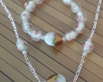 Floral Jewelry Set, Shabby Chic Boho Jewelry, Glass Jewelry Set, Minimalist Jewelry Set, Boho Jewelry Set, Flower Necklace, Flower Bracelet