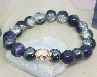 Amethyst Crystal Stretch Bracelet, Hematite Crystal Protection Bracelet, Healing Crystals Pagan Bracelet, Empath Protection Wiccan Jewelry