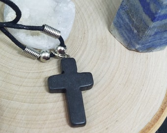 Black Onyx Cross Necklace, Mens Cross Necklace,Black Onyx Necklace,Mens Cross Choker Necklace,Black Onyx Pendant,Mens Cross Protection Charm