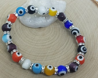 Egyptian Evil Eye Beaded Lampwork Glass Stretch Bracelets, Crystal Eyeball Stretch Bracelet, Multi Colored Hamsa Evil Eye Bracelet