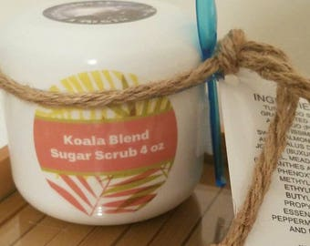 Koala Blend Sugar Scrubs, Essential Oil Body Scrub, Peppermint Oil Vegan Skincare, Essential Oil Hand Scrub, Body Polish Foot Scrub