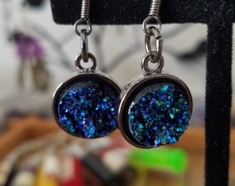 DRUZY Crystal Turquoise Earrings, Blue Green Dangle Drop Jewelry, Boho Costume Fashion Jewelry