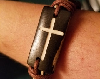 Leather Bracelet Cross Jewelry, Leather Bracelet For Men, Cross Bracelet Religious Jewelry