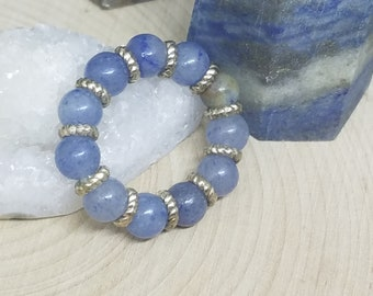 Blue Aventurine Ring, Blue Aventurine Crystal Thumb Ring, Blue Aventurine Stacking Rings, Blue Aventurine Stretch Rings
