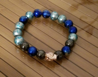 Blue Skull Crystal Stone Beaded Stretch Bracelet, Boho Costume Fashion Jewelry, Wiccan Pagan Crystal Jewelry