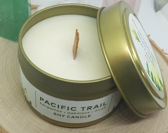 Pacific Trail Wood Wick Candle, Scented Soy Candle, Anxiety Relief Jar Candles, Soy Candles Handmade, Soy Wax Candles, Intention Candle