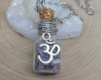Amethyst Crystal OM Necklace, Amethyst Chips Bottle Necklace, Third Eye Empath Jewelry, Raw Amethyst Witchy Gifts, OM Amethyst Necklace