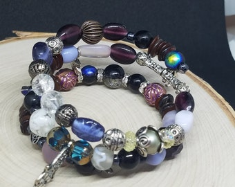 Reiki Charged Evil Eye Egyptian Bracelet, Reiki Charged Wicca Jewelry, Wrap Around Bracelet