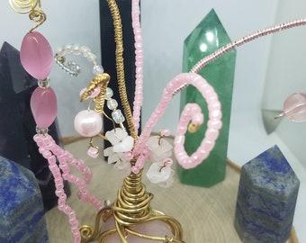 Rose Quartz Tree,Rose Quartz Gemstone Tree,Rose Quartz Crystal Tree,Gem Tree,Wire Tree Crystal Decor,Rose Quartz Empath Protection