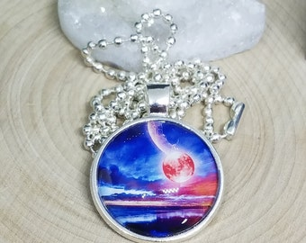 SPACE And PLANETS Glass Cabochon Pendant Necklace, Sci Fi Fantasy Celestial Moon And Stars Jewelry, Galaxy Boho Costume Fashion Jewelry