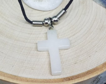 Crystal Cross Necklace, Crystal Quartz Necklace, White Quartz Cross Necklace, Cross Pendant Necklace,Mens Cross Necklace, Christian Necklace