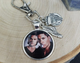 Dean Winchester Photo Keychain, Sam Winchester Photo Keychain,Supernatural Car Accessories,Supernatural Keychains,Supernatural Photo Jewelry