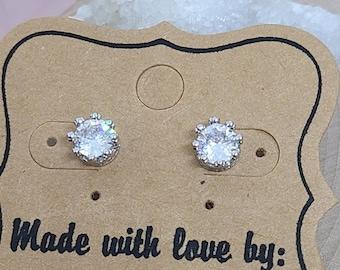 Sterling Silver Stud Earrings, Sterling Silver Crystal Earrings, Sterling Silver Earrings,Silver Earrings,Sterling Silver Statement Earrings