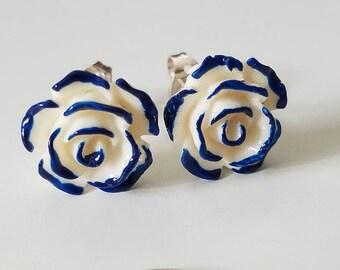 Medium PAINT The ROSES BLUE Stud Earrings, Blue Stud Earrings, Blue Stud Roses Floral Accessories, Blue Stud Roses, Alice In Wonderland