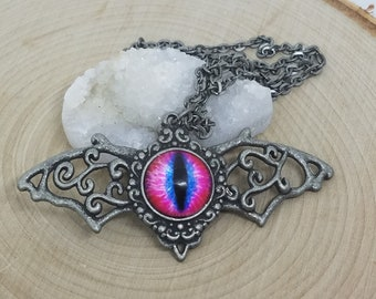 Evil Eye Bat Necklace, Dragon Eye Necklace, Cats Eye Bat Jewelry, Evil Eye Pagan Necklace, Evil Eye Necklace, Dragon Eye Wiccan Necklace