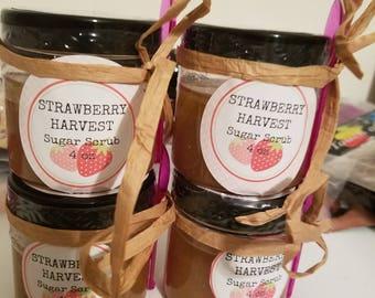 Strawberry Sugar Scrubs, Strawberry Body Scrub, Strawberry Vegan Skincare, Strawberry Body Polish, Strawberry Foot Scrub, Strawberry Scrub