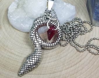Silver Snake Pendant, Red Crystal Necklace, Snake Charm Gothic Necklace, Snake Pendant Necklace, Snake Charm Necklace, Serpent Necklace
