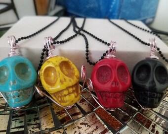 STONE SKULL Head Pendant NECKLACES, Multi Colored Stone Skull Head Jewelry, Boho Costume Fashion Jewelry, Wiccan Pagan Crystal Jewelry