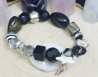 Black Beaded Glass Stretch Bracelet, Bohemian Bracelet, Boho Charm Bracelet, Boho Fashion Jewelry, Fashion Gifts for Women