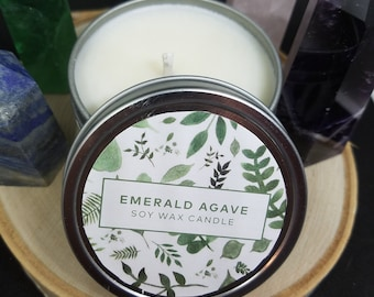 Emerald Agave Botanical Soy Candles,Botanical Natural Soy Candle,Soy Wax Candles,Botanical Scented Soy Candle,Botanical Aromatherapy Candles
