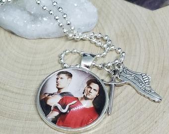 Supernatural Photo Pendant Necklace, Dean Winchester Photo Necklace, Sam Winchester Photo Necklace, Supernatural Photo Jewelry