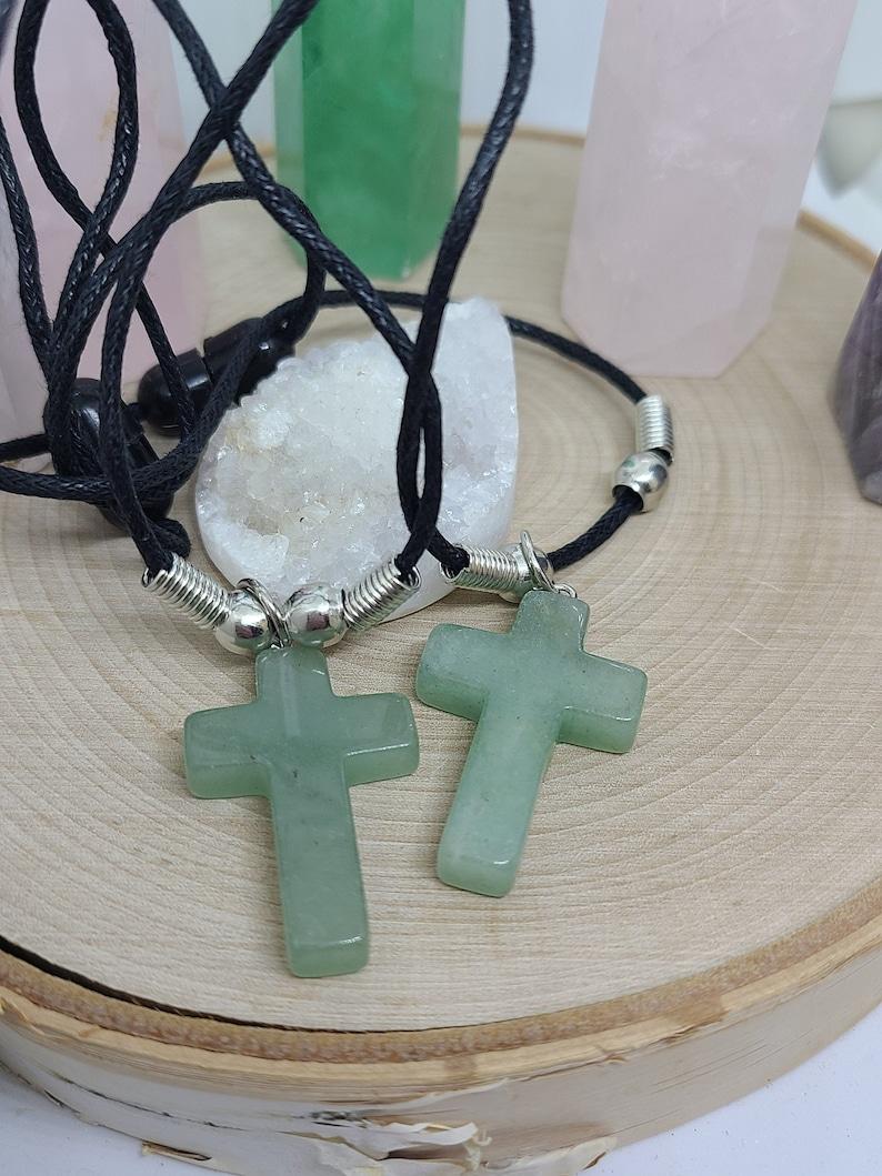 Green Aventurine Cross Necklace Aventurine Crystal Cross image 0