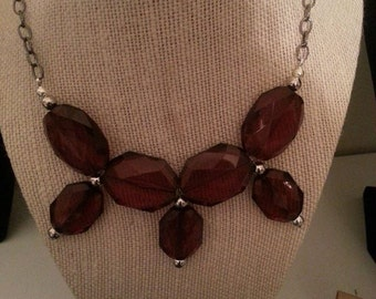 DARK AMBER BEADED Statement Necklace, Chunky Amber Boho Costume Fashion Jewelry, Victorian Wiccan Pagan Crystal Jewelry