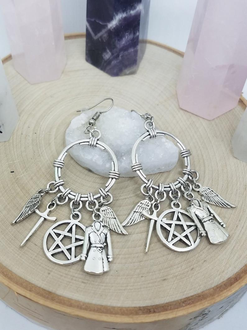 Supernatural Earrings Dean Winchester Earrings Castiel Angel image 0
