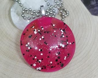 Hot Pink Glass Necklace, Pink Medallion Necklace, Pink Boho Necklace, Hot Pink Gothic Necklace, Polka Dot Pendant Necklace,Pink Boho Jewelry